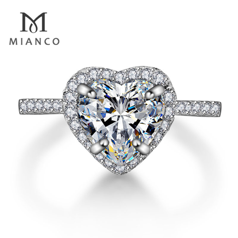 Mianco Wholesale Factory 2 Gram Gold Ring Price Heart Shaped Diamond Engagement Ring Designs MR41S