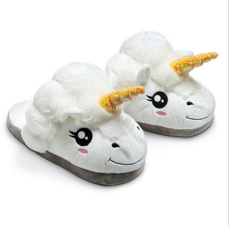 Free Shipping 1Pair Plush Unicorn Cotton Slippers for White Despicable Me Grown Ups Winter Warm Indoor