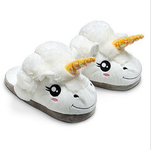 Free Shipping 1Pair Plush Unicorn Cotton Slippers for White Despicable Me Grown Ups Winter Warm Indoor Slippers