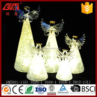 Frosted effect indoor glass angel with LED