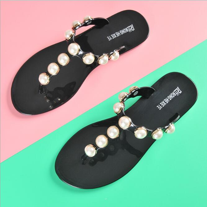 LM4020Q big size Non-slip slippers women beach flip-flops household pearl slippers