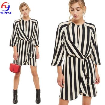 4eeedd6379f5 Latest designs dongguan clothes supplier wholesale women elegant summer  chiffon casual black white stripe shift dress