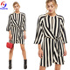 Latest designs dongguan clothes supplier wholesale women elegant summer chiffon casual black white stripe shift dress