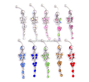 10Pcs/lot Butterfly Dangle Navel & Bell Button Rings Body Piercing