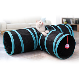 For Play Fun Foldable 3 Tube Tunnel Camping Pet Tent for cat