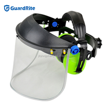GuardRite brand pvc industrial face shield with ear muff ,safety face shield with visor