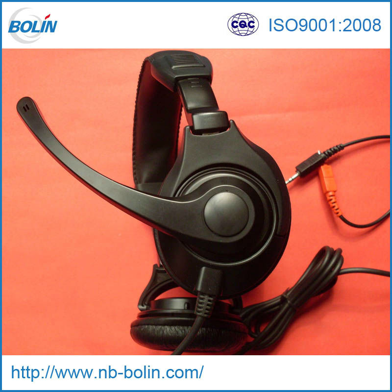 3.5mm Plug Ear Muff Headphones with mic for pc