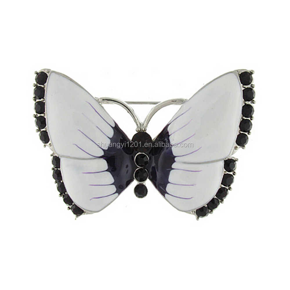 Zinc Alloy Metal Rhinestone Crystal Animal Butterfly Pin Brooches Custom Made