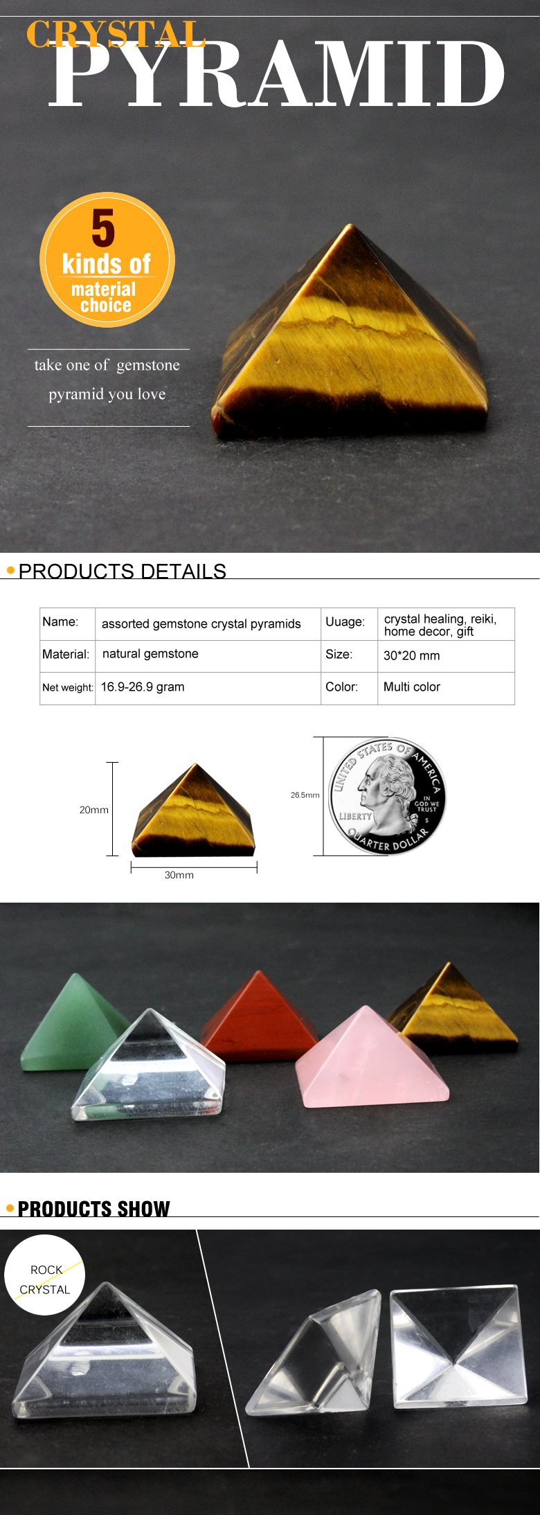 wholesale assorted top quality 30x20mm natural crystal gemstone pyramid craft