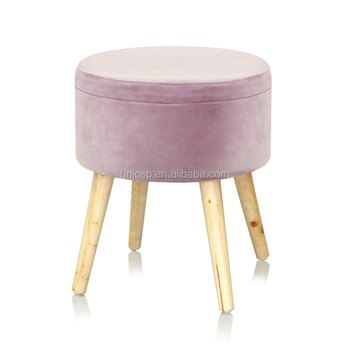Pinky Round Velvet Storage Ottoman Stool With 4 Wooden Legs In Kd