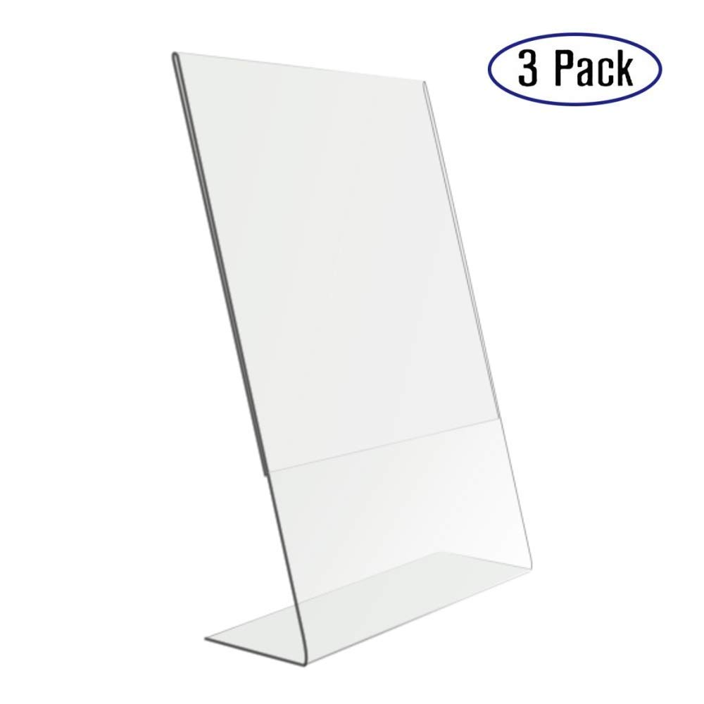 Fashion Style 2 Units Prexiglass Magnet Acrylic Frame Desk Sign Menu Price Tag Display Label Holders Advertising Poster Photo Picture Frame Pure White And Translucent Desk Accessories & Organizer