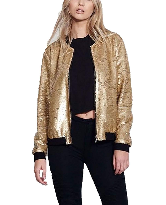 MA ONLINE Womens Fancy Zipper Sequin Glitter Bomber Jacket Ladies Long Sleeve Biker Festive Party Coat