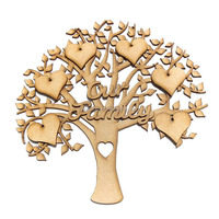 Memory Engraved MDF Christmas Decorative Craft Wooden Family Tree