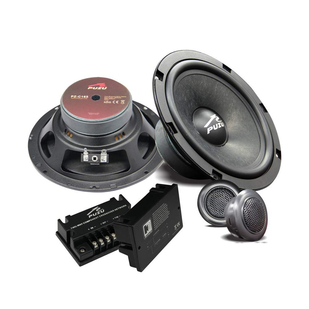 YOUANDMI 6 Pack 6.5 Inch Component Car Speakers with 2 Network Crossover and Dome Tweeter - Wool Cone Speaker System Kit with 1 Inch Tweeter for Car Front Door