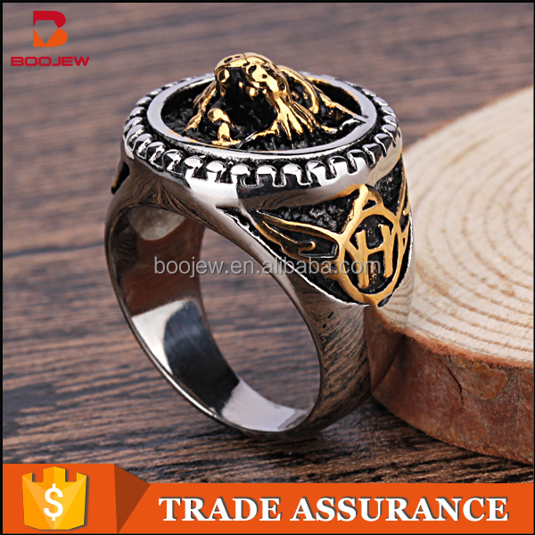 China factory Punk style 18 K gold plating beautiful mans 316 L Stainless Steel Lion head skull Ring