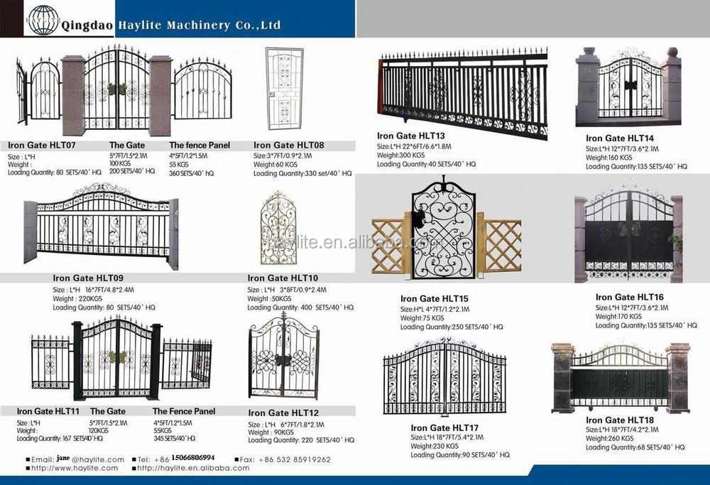 Modern Garden Fence Metal Door Wrought Iron Sliding Gate