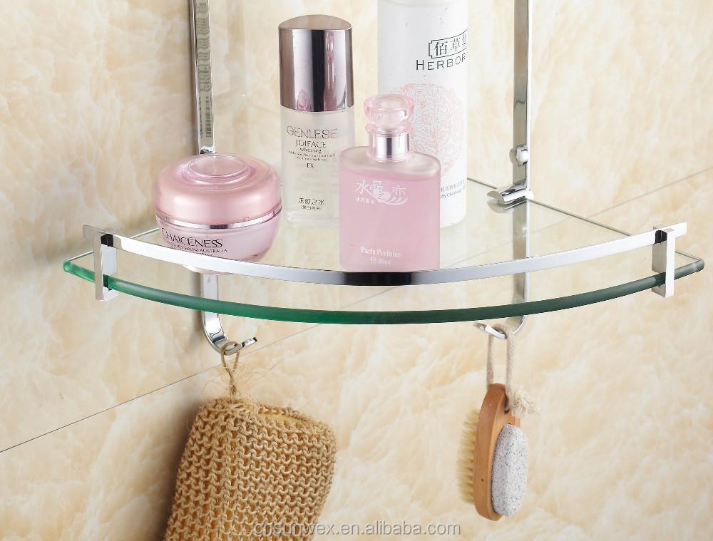 Dual Tier Glass Bathroom Corner Shelf Triangle Bathroom Glass