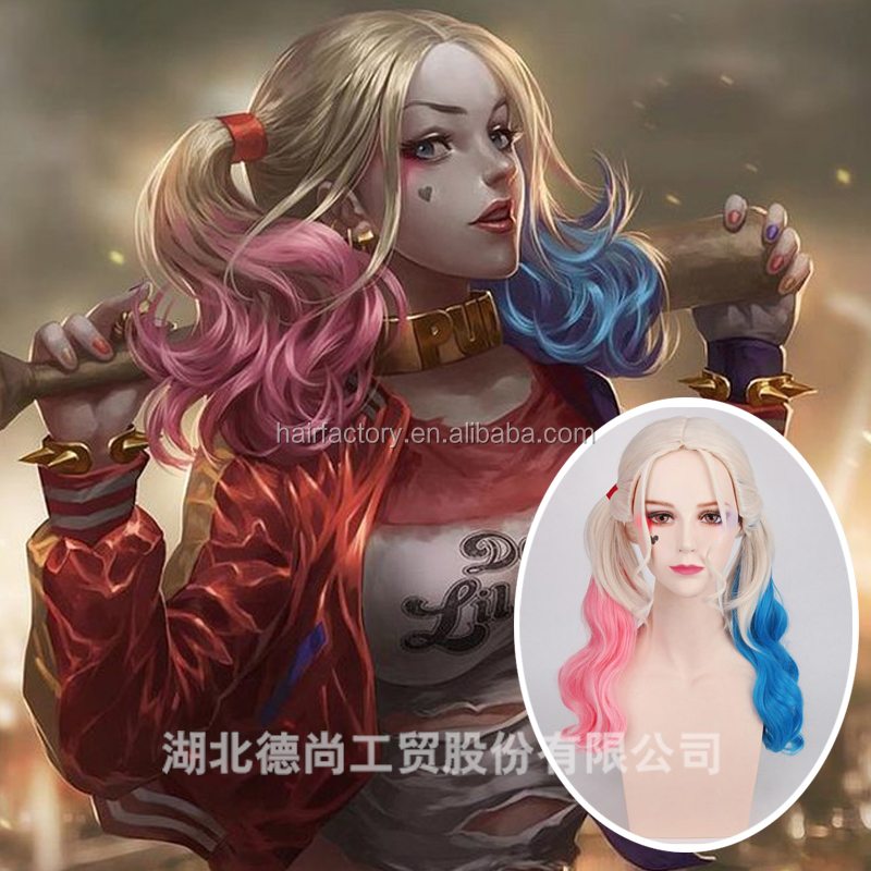 New arrival fashion harley quinn high quality synthetic cosplay wig