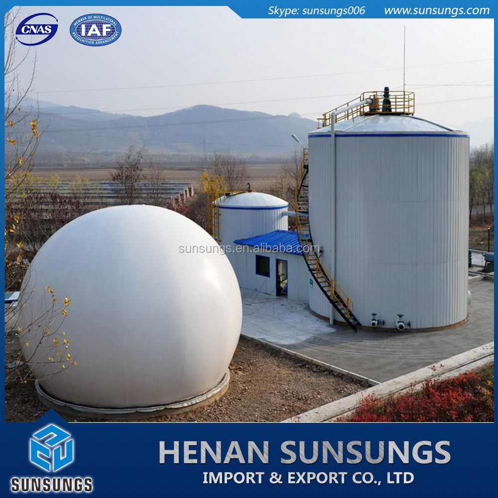 Beer plant sewage marsh gas anaerobic digestion and biogas storage tanks