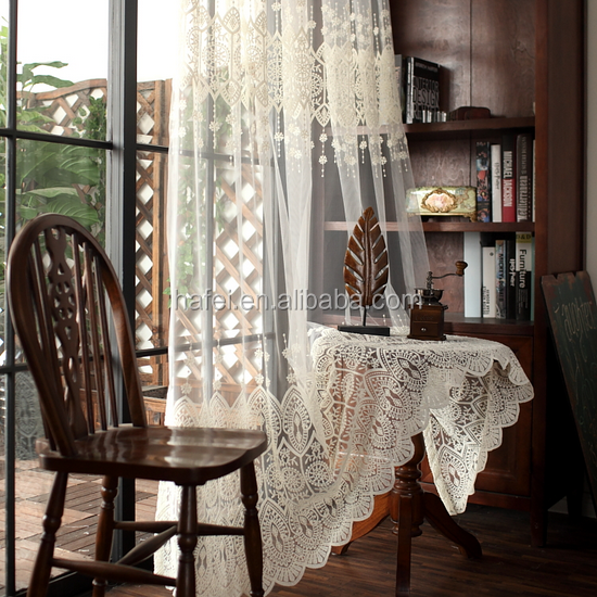 2017 new European panel curtain embroidered sheer curtain