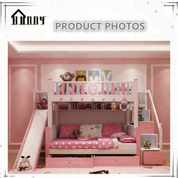 Kids Children Furniture Bed With Stair And Pull Out