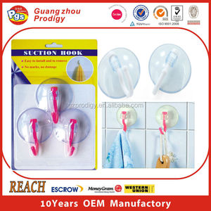 plastic reusable hook pvc cup hooks bulk suction cup hook