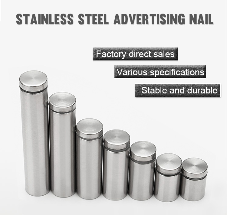 China Advertising Fastening Screws Manufacture AD Decorative Advertisement Stainless Steel Glass Fasteners