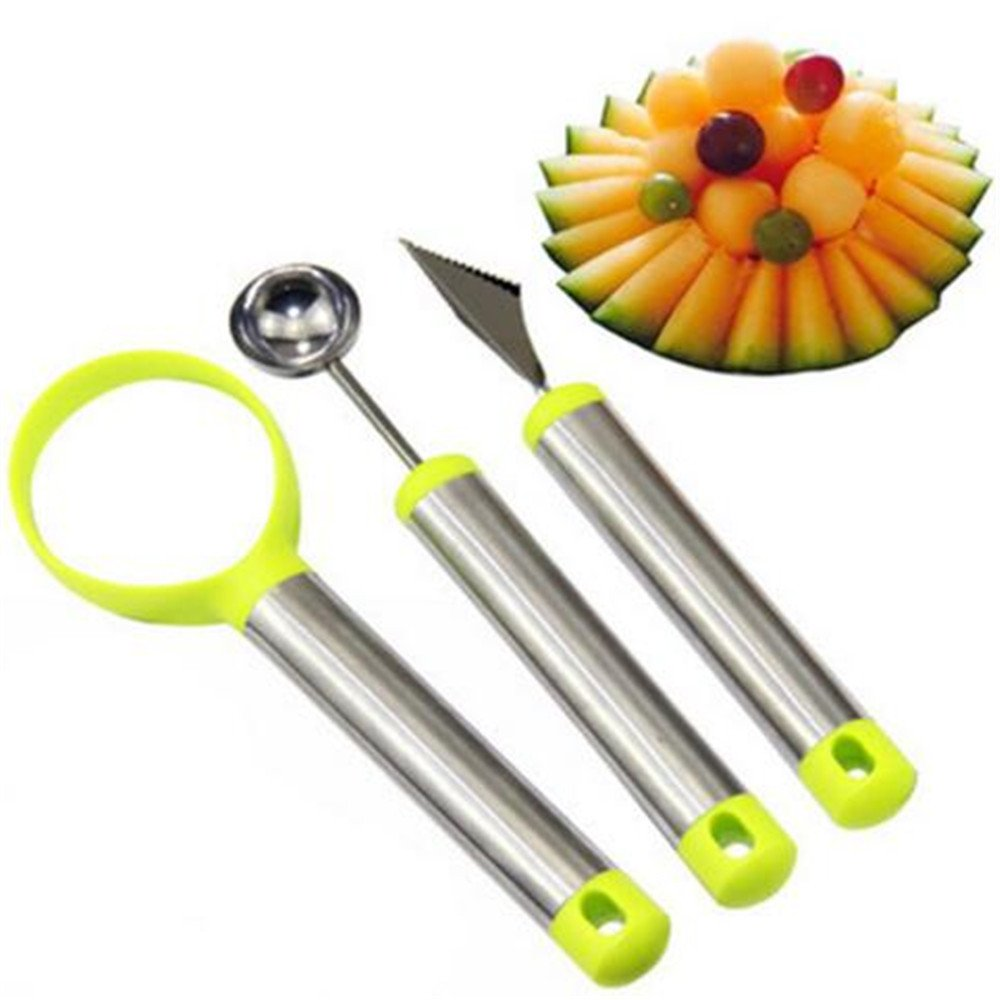 3 Pcs/Set Stainless Steel Melon Baller Scoop Fruit Spoon Ice Cream Dessert Engraving Flower Carving Knife Scoop Kitchen Tool
