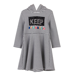New arrival fashion stripes kids clothing frock with beaded and tassels designs