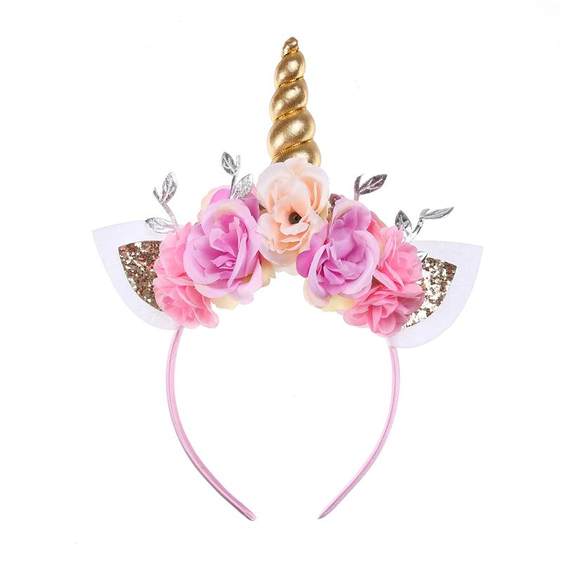 Wholesale Unicorn <strong>Headband</strong> Gold Sequin Cat Ears Floral Crown Flower <strong>Headband</strong> For Girls