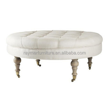 French Country Style White Linen Fabric Tufted Round Ottoman