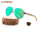 Cheap metal frame polarized UV400 wooden sunglasses