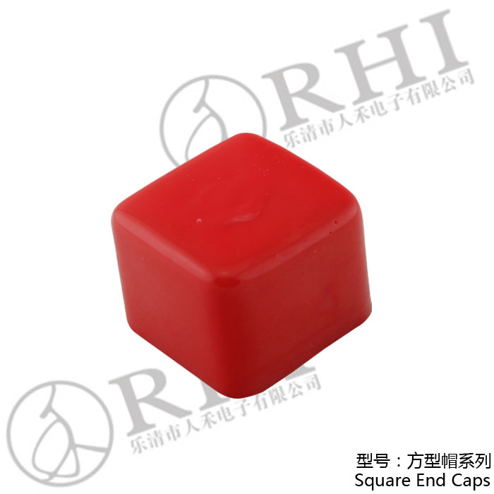 RHI Electric Red 1-5/8''x 1-5/8'' ruber steel pipe end caps , plastic square caps