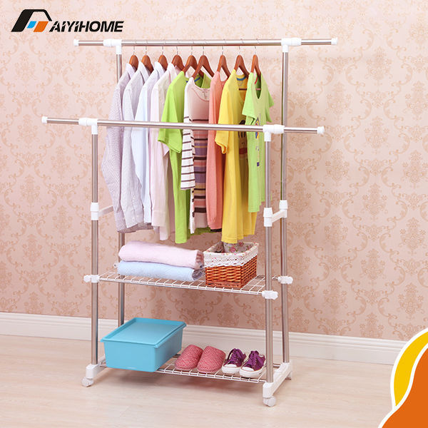 Double Heavy Duty Stainless Steel Glad Tube Clothes Rack With Wheel