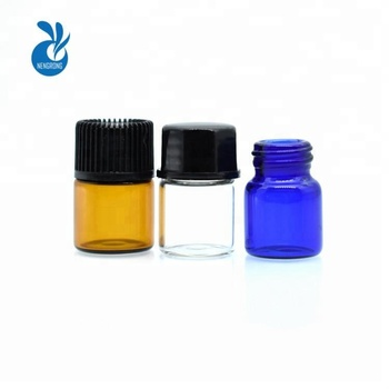 high quality 1ml 2ml 3ml 5ml small perfume glass sample bottle 1/4 dram 5/8 Dram 1 ml 2ml Clear Blue Amber Glass Vial
