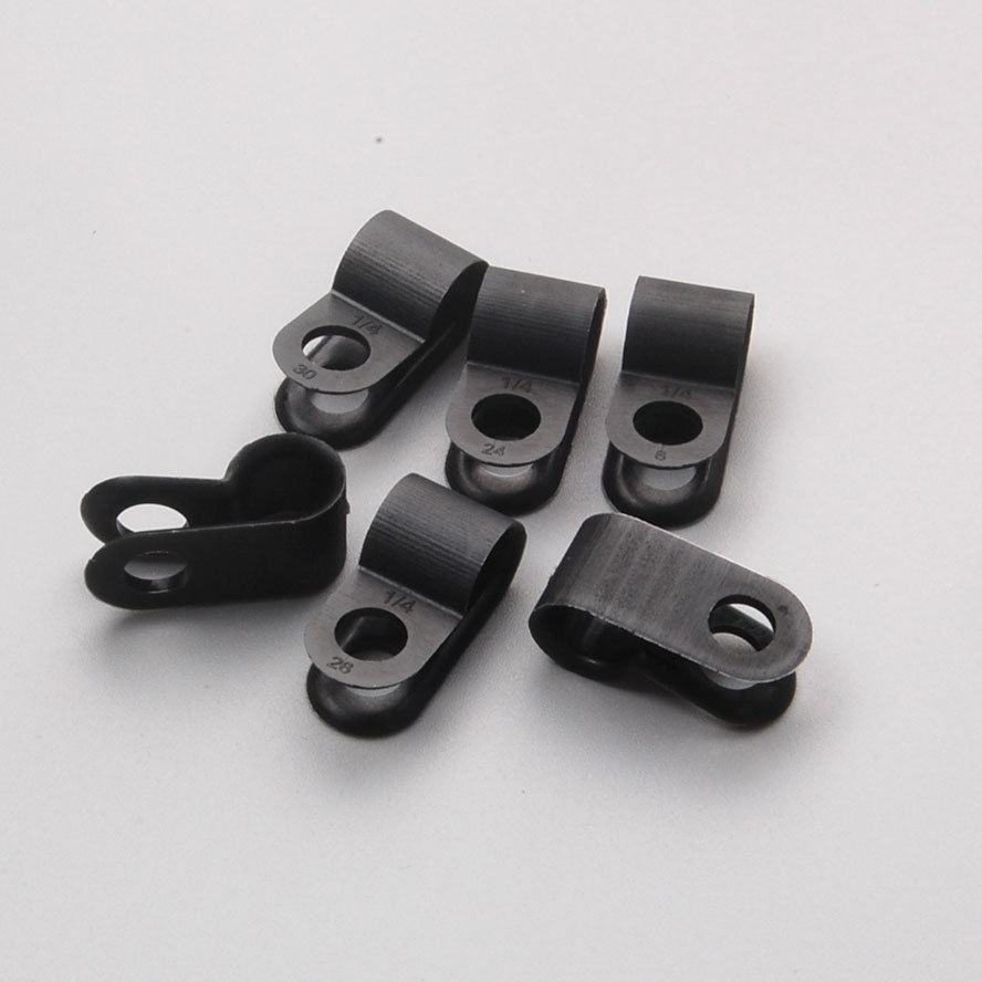 100 x nylon black wire cable hose p type clamp clips clip. Black Bedroom Furniture Sets. Home Design Ideas