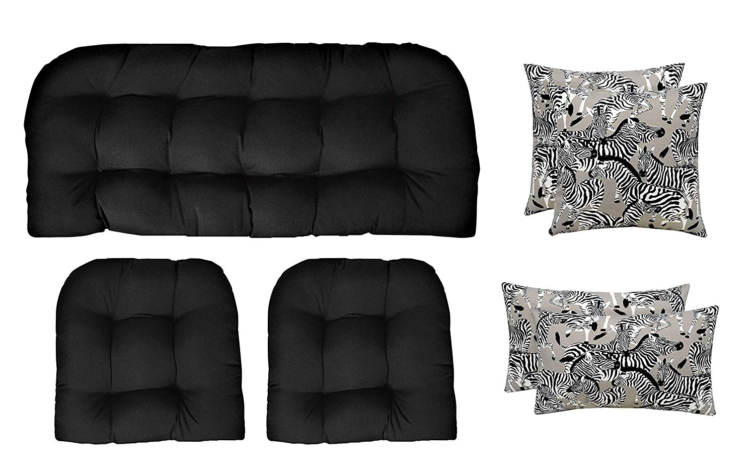 "RSH Décor Indoor Outdoor Wicker Tufted 7 Piece Set 1 Loveseat Settee, 2 Chair Cushions 2 Square & 2 Lumbar Pillows - Black & White Zebra & Black (41"" W x 19"" D & 19""W x 19""D + 20"" W x 12"" H & 17"" Sq)"