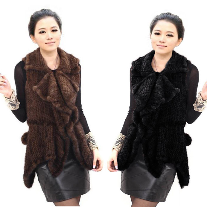 100% Real Genuine Knitted Mink Fur Vests Gilets Women Coat Fur Natural Furs Jackets Waistcoat Fashion winter spring Outerwear