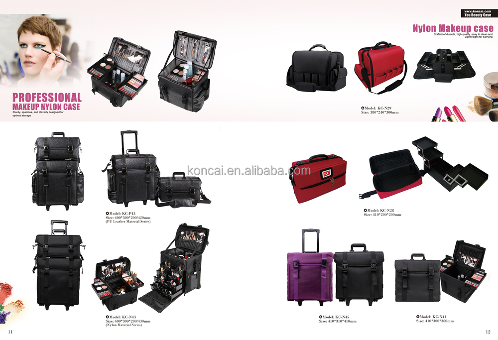 Mobile Professional Portable Aluminum makeup case with lights /rolling trolley makeup train case with stands 19
