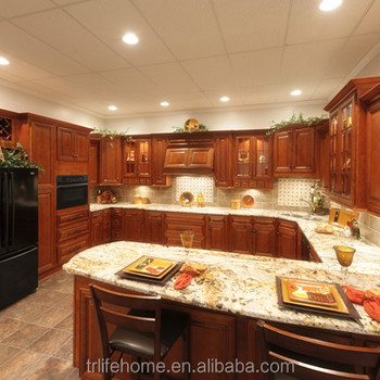 Customized American Style Luxury Kitchen Furniture Solid Wood