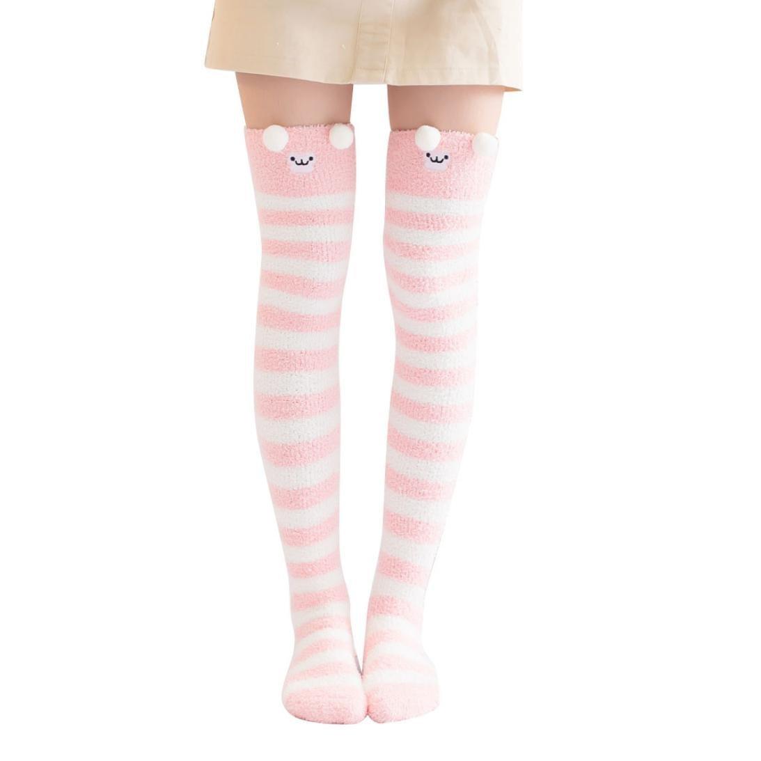 d717d2973f6a2 Get Quotations · Cute Thigh Socks, Charberry Women Winter Cartoon Over Knee  Long Boot Thigh-High Warm