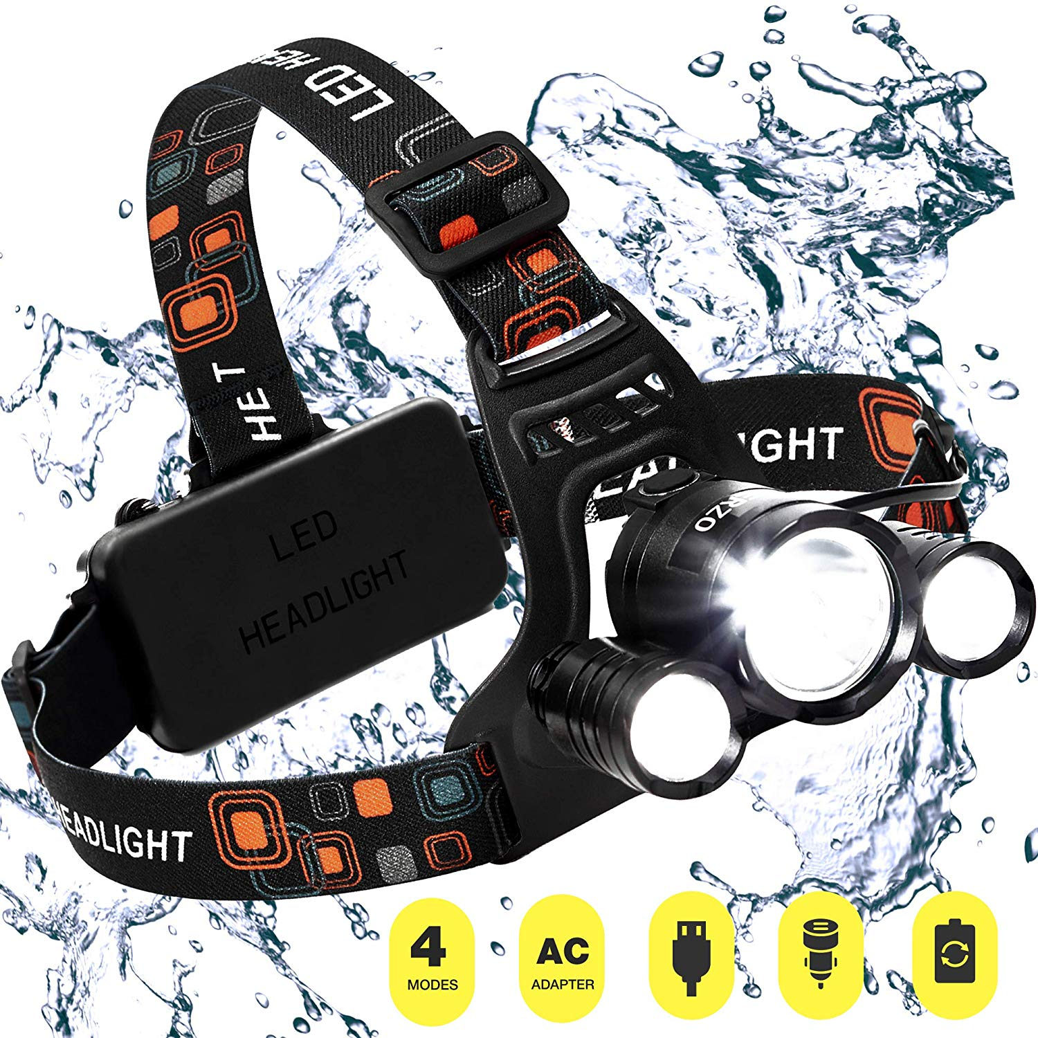 Head lamp - New 2018 Led Rechargeable Headlamp Flashlight with 18650 Battery - Bright Waterproof Headlamp for Camping Hunting Running Hiking - Outdoor Led Headlight Flashlight - Black