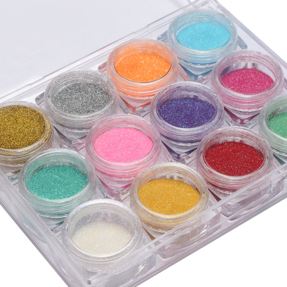 3d full beauty nail glitter powder with 12 color for DIY flake nail art decorations