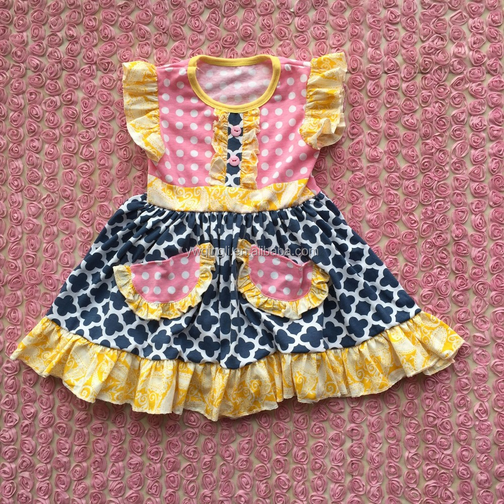 2016 Baby Cotton Sleeveless Frocks Designs Dresses With Two Pocket ...
