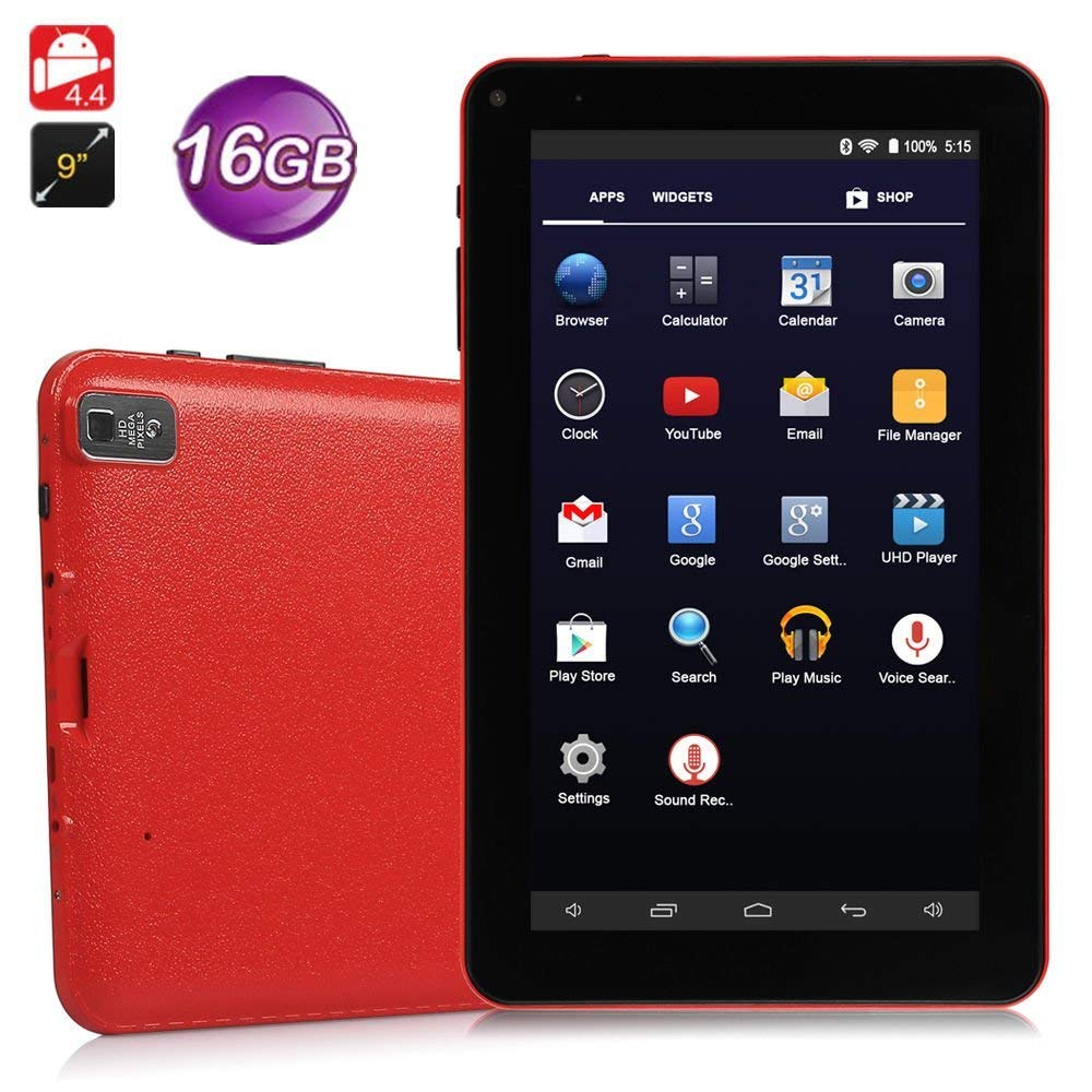 """9"""" inch Android Tablet PC,High RAM Storage Phablet Tablet Quad Core Unlocked Cell Phone Tablets, Sim Card Slots, WiFi, GPS, Blue-Tooth 4.0, HD Screen Display, Google Play(Red)"""