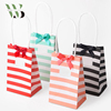 High Quality Stripe Pattern Craft Paper Gift Bag with Thanks Sticker