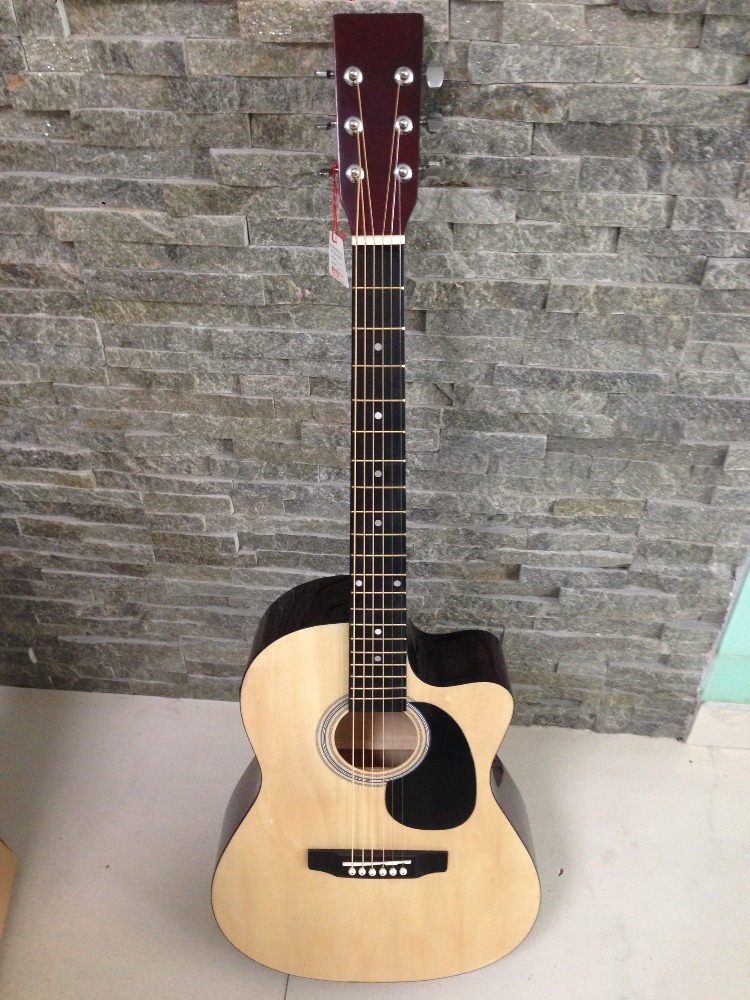 Cheapest 39 inch cheap acoustic electric guitar, linden plywood acoustic guitar