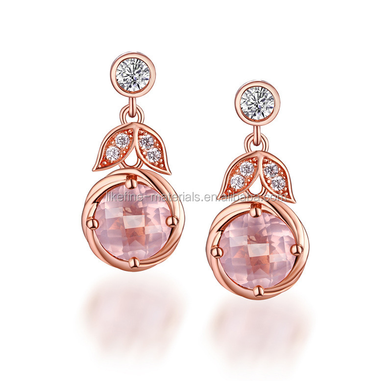 Fashion women gold plated real pink crystal drop earrings