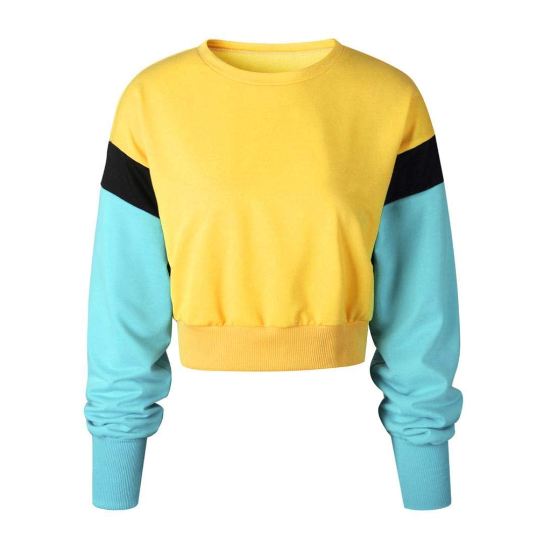 Zainafacai Patchwork Hoodies- Womens Long Sleeve Crop Top Hoodie Sweatshirt Sports Pullover 2018/2019Fashion Style