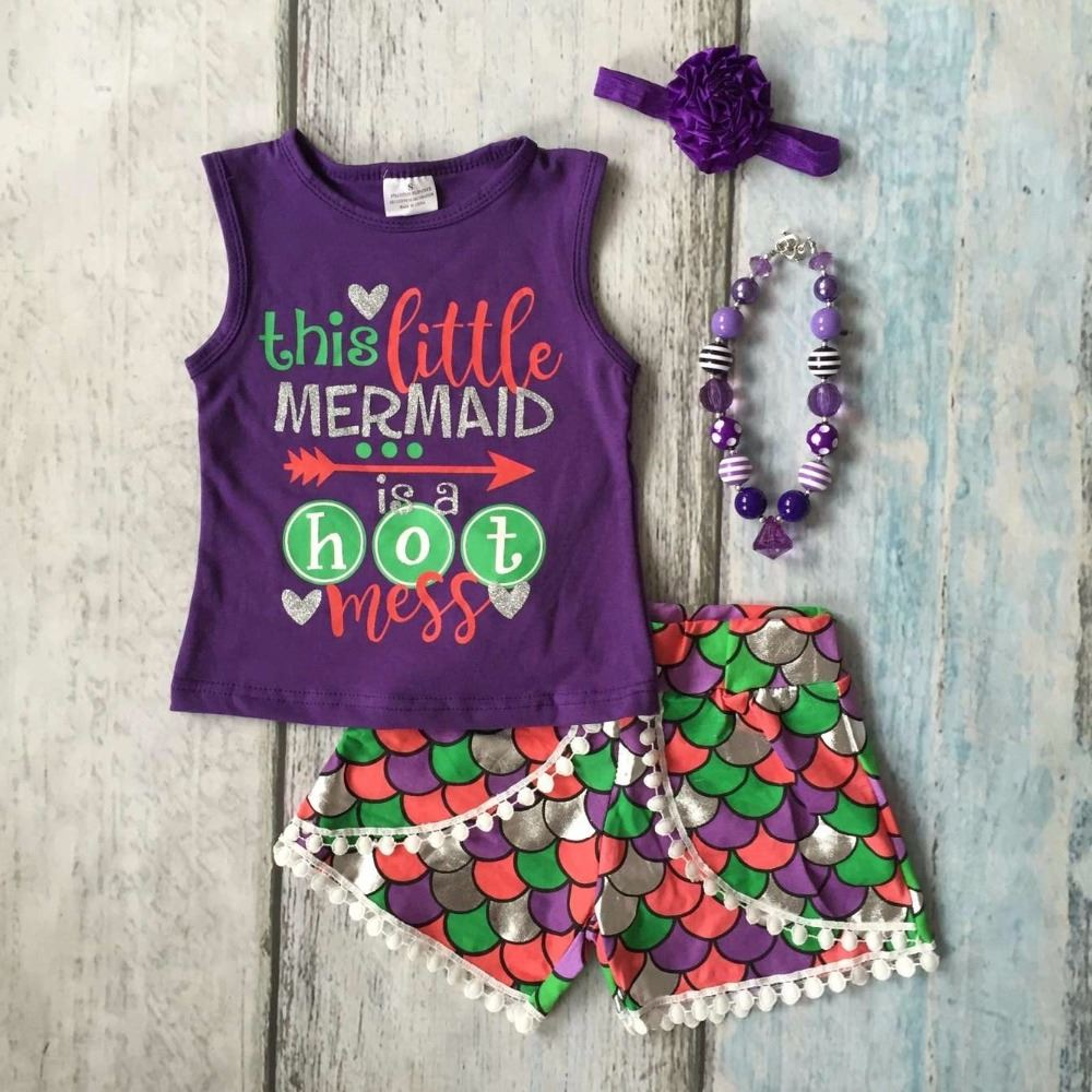 9369b8ad5 Summer baby girls clothes purple green scale this little mermaid is a hot  mess boutique short